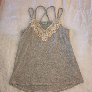 Maurices Heather Grey Tank with Crochet Detail